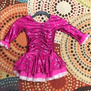 Little girls pink ice figure skating dress size 6
